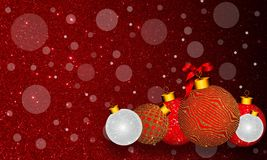 Fond de Noël avec l'ornement d'or et d'argent et ruban sur le fond rouge coloré illustration stock