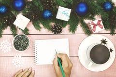 Fond de Noël avec l'ornement et le son à feuilles persistantes décoré Photos stock