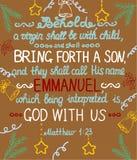 Fond de Noël avec la bible de lettrage elle produira un fils et appellera son nom Emmanuel illustration stock
