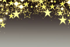 Fond de Noël avec la guirlande lumineuse avec des étoiles, des flocons de neige et l'endroit pour le texte Fond scintillant bleu  Photographie stock libre de droits