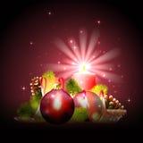 Fond de Noël avec la lumière de bougie Image libre de droits