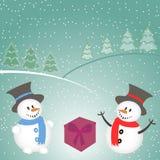 Fond de Noël avec le bonhomme de neige, l'arbre, les cadeaux et les flocons de neige Photo stock