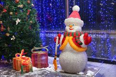 Fond de Noël avec le bonhomme de neige Photos libres de droits
