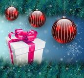 Fond de Noël avec le cadre de cadeau Photos stock