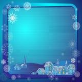 Fond de Noël avec le village de nuit dans le cadre Photo stock