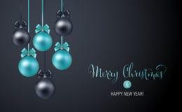 Fond de Noël avec les babioles bleues et noires de soirée illustration stock
