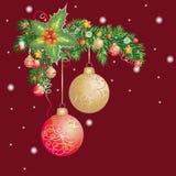 Fond de Noël avec les babioles et l'arbre de Noël Photographie stock