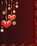 Fond de Noël avec les coeurs et les ornements mignons. Images stock
