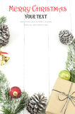 Fond de Noël avec les décorations et le boîte-cadeau Photographie stock libre de droits