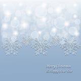 Fond de Noël avec les flocons de neige 3d et les étoiles Photos stock