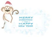 Fond de Noël avec les flocons de neige et le singe Images stock