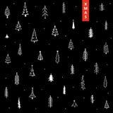 Fond de Noël avec les pins et les étoiles tirés par la main de Noël de griffonnage mignon illustration de vecteur