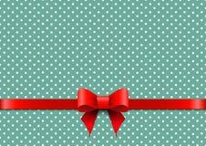 Fond de Noël avec les points de polka et l'arc rouge illustration de vecteur