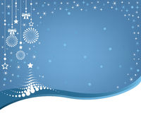 Fond de Noël avec un arbre abstrait, ornements accrochants. Photo stock