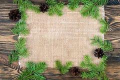 Fond de Noël avec un branc de tissu de toile et d'arbre de Noël Photographie stock libre de droits