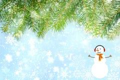 Fond de Noël, branches d'arbre de Noël et bonhomme de neige, inscription de bonne année illustration de vecteur