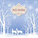 Fond de Noël Carte de voeux de paysage d'hiver de neige Images libres de droits