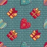 Fond de Noël Coeurs et boîte-cadeau Configuration sans joint Vecteur coloré illustration libre de droits