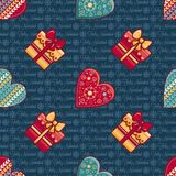 Fond de Noël Coeurs et boîte-cadeau Configuration sans joint Vecteur coloré illustration de vecteur