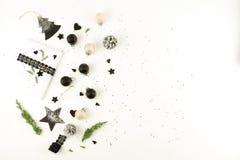 Fond de Noël composition abstraite créative des décorations de Noël image libre de droits