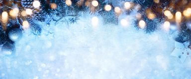 Fond de Noël de conte de fées avec des cristaux de glace Photo stock