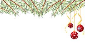 Fond de Noël décoré des babioles et des rubans de Noël illustration libre de droits