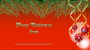 Fond de Noël décoré des babioles et des rubans de Noël illustration de vecteur