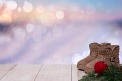 Fond de Noël Décoration d'hiver de Noël de dessus de Tableau de retour photo libre de droits