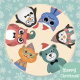 Fond de Noël d'animaux et d'animaux familiers de mode de hippie rétro illustration stock
