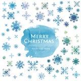 Fond de Noël d'aquarelle de flocon de neige Photos libres de droits