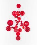 Fond de Noël d'arbre de boutons blancs et rouges, d'isolement sur le blanc avec l'espace de copie Images stock
