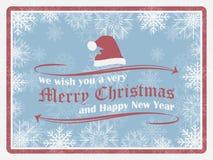 Fond de Noël dans le rétro style avec les flocons de neige, le chapeau de Noël et les éléments fleuris Images libres de droits