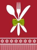 Fond de Noël de fourchette, de cuillère et de couteau illustration libre de droits