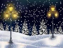 Fond de Noël de paysage de forêt d'hiver Photos libres de droits