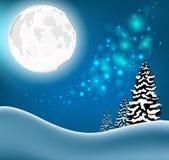 Fond de Noël de paysage de forêt d'hiver Images libres de droits