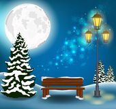 Fond de Noël de paysage de forêt d'hiver Photographie stock
