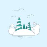 Fond de Noël de paysage de forêt d'hiver, pin Image stock