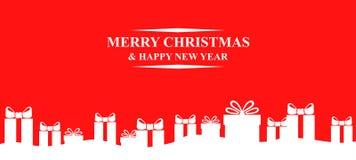 Fond de Noël de salutation avec des cadeaux illustration de vecteur