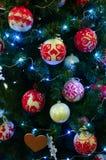 Fond de Noël de sapin décoré Photo stock