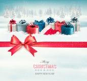 Fond de Noël de vacances avec les boîte-cadeau colorés Photos libres de droits