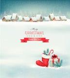 Fond de Noël de vacances avec un village Images stock