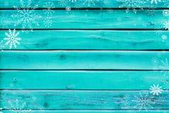 Fond de Noël de vieux panneaux peints de turquoise Images libres de droits