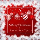 Fond de Noël et de nouvelle année avec les boules de Noël, la branche de sapin et la neige rouges pour la conception de Noël Illu illustration libre de droits