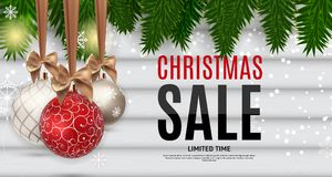 Fond de Noël et de vente de nouvelle année, calibre de bon de remise Illustration de vecteur illustration de vecteur