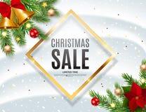Fond de Noël et de vente de nouvelle année, calibre de bon de remise Illustration de vecteur illustration stock