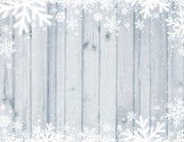 Fond de Noël de Grey Wooden avec les flocons de neige blancs brouillés, illustration libre de droits