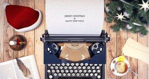 Fond de Noël de machine à écrire avec le livre blanc vide Photos libres de droits