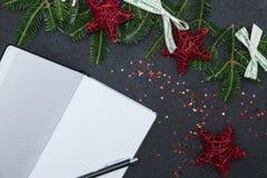 Fond de Noël noir ou de nouvelle année Photographie stock libre de droits