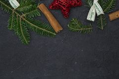 Fond de Noël noir ou de nouvelle année Photographie stock