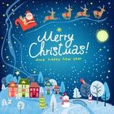 Fond de Noël Paysage avec les maisons et la Santa Claus de ville illustration libre de droits